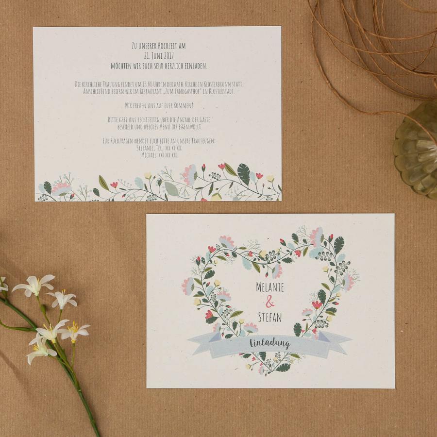 Einladungen Hochzeit Vintage #27: Herzkarten